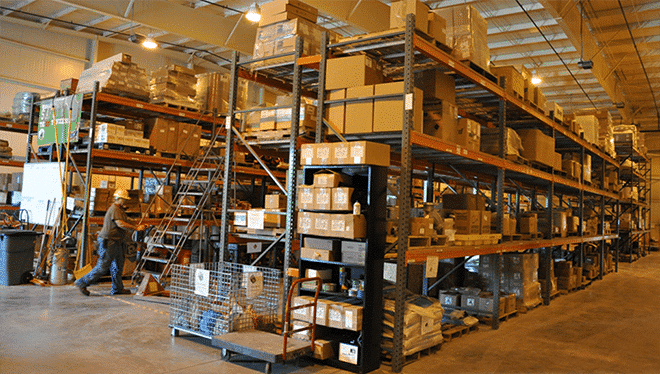 An organized distributor's warehouse.